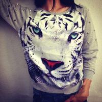 Lacegirl's  shop women new 2014 fashion Harajuku 3D animal tiger pattern rivet long sleeve hoody swearshirt s m l