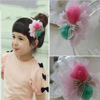 2014 New Beautiful Children Flower Chiffon Flowers Headband Fashion Roses Hairband Wholesale Girls Hair Accessories12pcs/lot