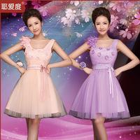 Party wedding reception new short shoulders bridesmaid dresses pink purple 2 color options LF435