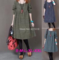 2014 fashion women autumn and winter loosen O-neck long sleeve retro floral print elegant cotton dress plus size free shipping