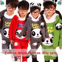 Retail 2-11Y beautiful 3pcs Autumn/Winter children's clothing sets(vest+hoodie+pants) 2014 Hot Sale boys' girls' Clothing Sets
