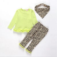 2014 new babies fall season clothes infant baby girls sweet long sleeve shirt and leopard pants with headwear 3 pieces suit