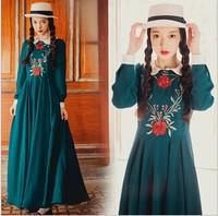 wholesale 2014 Autumn Vintage rose embroidery floor-length dress women swing hem dress
