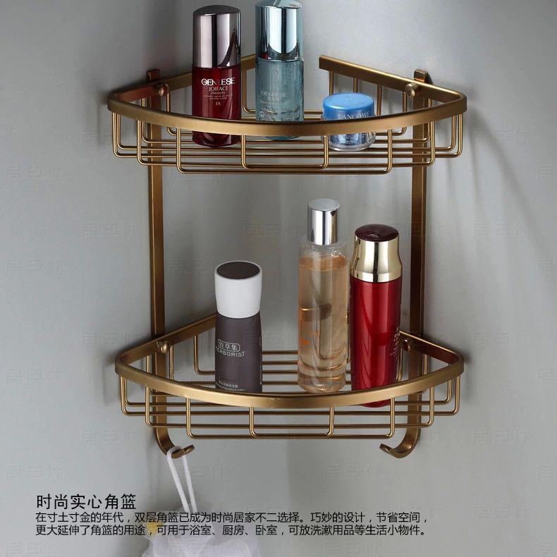 Wall Mounted Antique finish NEW aluminum Bathroom Shower shampoo Shelf Triangle Basket Holder Fashion Double Layer MJ-7011(China (Mainland))