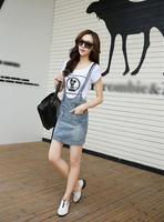 High Quality NEW 2014 Women Summer Korean Fashion Jeans mini dress Cotton Button CASUAL Sash Denim Blue Braces Sexy OL Ladies