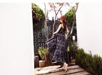 wholesale 2014 Autumn Vintage print dress women's swing hem dress brace skirt