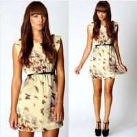2014 New Style European Hot Sale Brand Fashion Casual Butterfly Flower Chiffon Women Summer Dress LQ4481