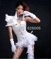 Female Singer ds costumes Women's Sexy bodysuit  jazz sparkling diamond stage clothes