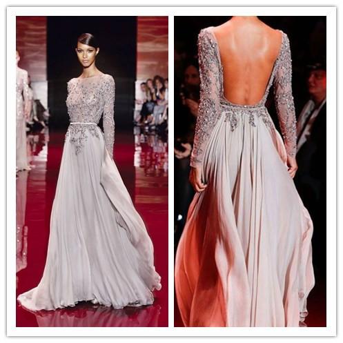 Длинные платья с открытой спиной и рукавами