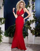 2014 Hot Sale Red Chiffon Fashion Floor Length  Prom Dresses Sexy Backless Beaded With Rhinestone Party Dress Long Evening Dress