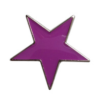 Metal custom madecheap purple star lapel badge pin ---Iron plated brass+Paints+epoxy+butterfly button Free shipping (350pcs/lot)