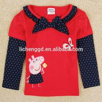 children clothing 2014 summer peppa pig girls t shirt pepa clothes tee shirts nova kids girl brand long sleeve t shirt F5235Y