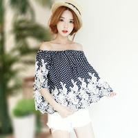 Summer Clothes For Women Loose Blouse Slash Neck Polka Dot Embroidery Fashion Ethnic Female Shirt 247