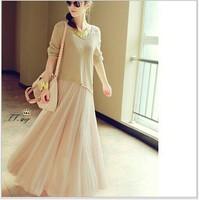 wholesale 2014 Autumn two-piece dress ladies knitted shirt+brace skirt