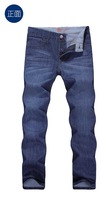 2014 brand quality men's jeans e men's straight pants fashion denim trousers mid waist