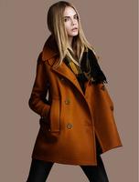 2014 Broadcloth Women Coat casacos femininos Turn-down Collar Woollen Coat Double Breasted Coat Slim Women's Winter Coats E 46