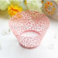 100pcs/lot Lavish wedding Celebration Supplies pink laser cut  pearl paper cupcake collar  cupcake wrapper