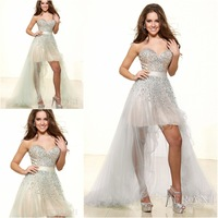 Sexy Charming Hi-Lo Prom Dress Sweetheart Sleeveless Gown Dress covered With Sparkle Beads and Crystal Custom-Made