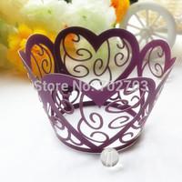 100pcs/lot Wedding Day Supplies Purple heart shape laser cut pearl paper cupcake wrapper