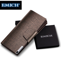 Emich men wallet long design cowhide wallet ,large capacity commercial mobile phone bag clutch free shipping