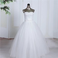 Free shipping new white cheap ball gown wedding dress 2014 floor-length handmade sew beading bridal gowns