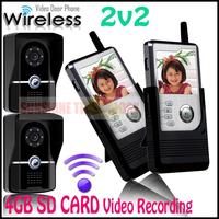SD card Video Recording Handset Color LCD Wireless Video Door Phone Doorbell Intercom System Home Security Entry Intercom 2v2