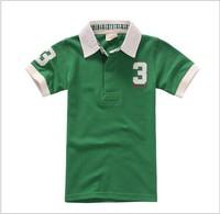 aoth2 short sleeve polo kids boys t shirt 3-8 age green color brand children t-shirt free shipping 5pcs/ lot