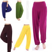 New 2014 Women Modal Solid Harem Pants Yoga Sport knickerbockers Belly Elastic Waist Dance Club Leg Pant Loose Long Trousers