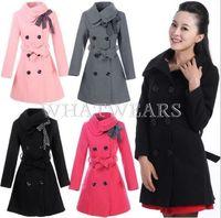 Free Shipping Fashion Womens Wool Coat Double Layer Lapel Bowknot Wool Blend Slim Long Coat [3 70-6205]