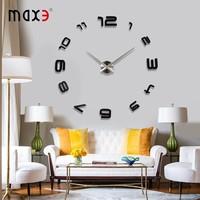 Promotion Gifts Home Decoration Modern 3D Wall Clocks DIY Metal Sticker Mirror Design Wall Clock
