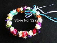 10x Bonsai Wedding flower girl head wreaths 100% handmade colorful paper rose flowers garlands with ribbon 17cm  JD015