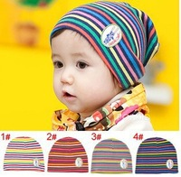 2014 Hot selling winter baby hat rainbow stripe double-thick set of head cap child hat wholesale