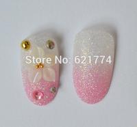 2014 New Hot Sales Beauty Wedding Bride Fake Nails Bling Pearl Diamond False Nails 2 lots(48pcs) Free Shipping