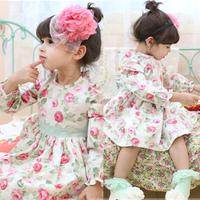 Sweet Kids Girls Dress Cotton Rose Flower Pattern Bow-knot Belt Princess Dress Free&Drop Shipping