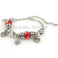 High Quality  murano glass bead charm beaded love bracelets Fit  European  Pandora Design Valentine's day gifts