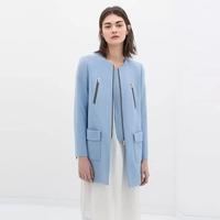 Free Shipping 2014 New European autumn lady fashion trench O-neck long sleeve zipper pockets blue casual slim coat, WJ180350