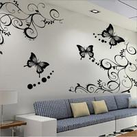 3D Wall Sticker Wall Paster/Room Sticker/Home Decorative Poster 1 Set = 2 Vine+4 Butterflies