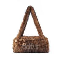 2014 Women's Genuine Natural Knitted Mink Fur Shoulder Bags Ladies' Fashion Fur Belt Handbags Accessories QD30420