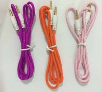 1250pcs free ship dhl,  Fabric Nylon 3.5mm To 3.5 mm Car Aux Audio Cable, male to male stereo Audio Cable for mp3 phone speaker