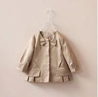2014 new fall European American style girl bow princess trench coat baby girls windbreaker khaki classic jacket children outwear