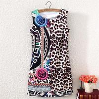 Free Shipping 2014 Vintage Style Summer leisure fashion women O-neck sleeveless Geometry leopard print slim dresses, WD180389