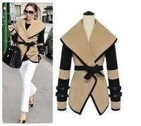 woollen coat sale freeshipping belt canvas casacos the new england wind 2014 victoria personality big cape coat lapels qiu dong