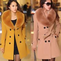 2014 autumn and winter women medium-long woolen outerwear plus size cashmere fur collar  woolen overcoat female slim