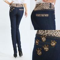 2014 spring elastic waist embellishment leopard print high waist elastic skinny jeans pants 27 - 4
