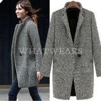 Free Shipping Fashion Womens Wool Coats One Button Big Lapel Wool Blend Long Pea Coats [2 70-6207]