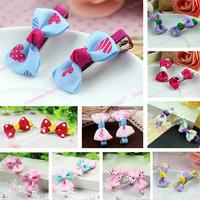 2014 Hot Sale Korean Fashion Cute Bowknot Hairpins For Girls Mix Color Children Barrettes Baby Hair Clips Kids Hair Accessories