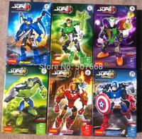(6 pcs/lot) Marvel Avengers Super Hero Iron Man,Hulk,Batman,Captain America,Clown,Green light man Building Block