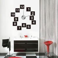 2014 Best Gifts Fashion Big Size 3D Wall Clocks Creative DIY Acrylic Metal Sticker Mirror Design Wall Watches Free Shipping