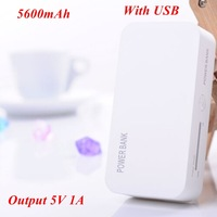 1pc Power Bank 5600mah Output 5V 1A Including 1* USB Cable for Samsung for iphone for Smartphone
