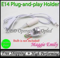 Super New! for E14 led lamp bulb light, Plug-and-play E14 holder socket, switch to control E14 Plug Europe UK Russia power cord